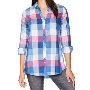 Foxcroft Hadley Buffalo Plaid Tunic blouse 8878